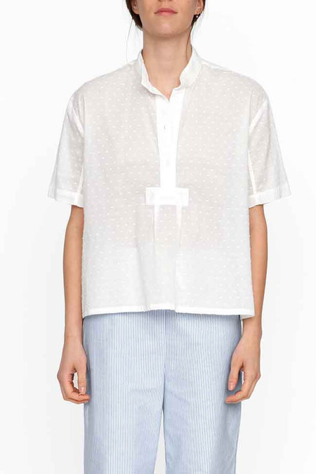 The Sleep Shirt Short Sleeve Cropped Shirt - White Swiss Dot