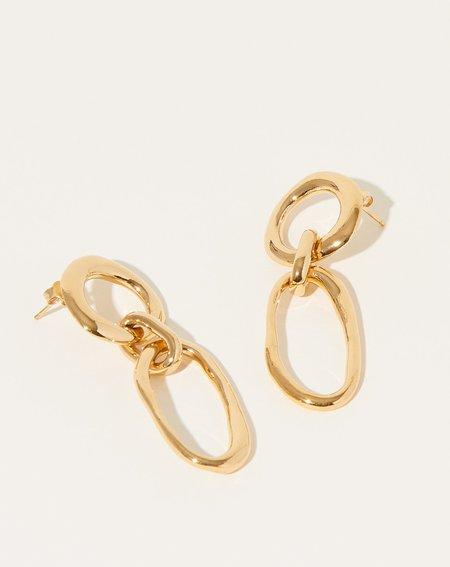 Modern Weaving Circle Oval Earrings - Gold Plate