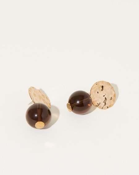 Modern Weaving Mini Textured Globe Earrings - Smoky Quartz