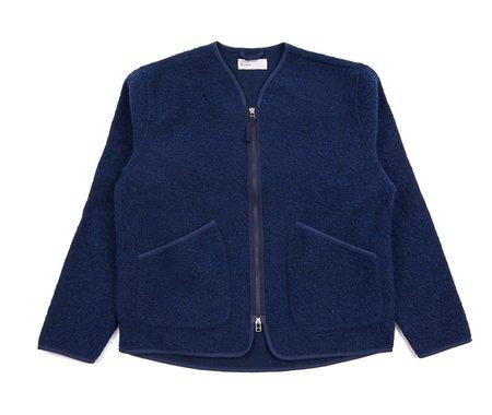 Universal Works Wool Fleece Cardigan - Blue/Brown