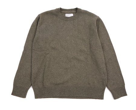 Universal Works Recycled Wool Loose Crew - Cool Green