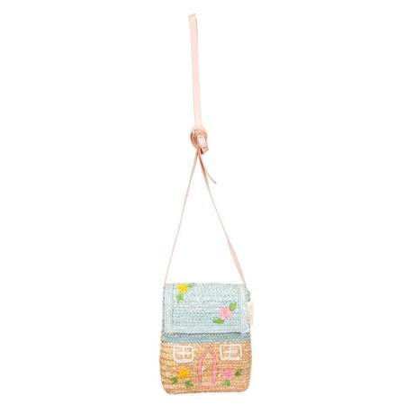 meri meri Cottage Straw Purse - Pink/Blue