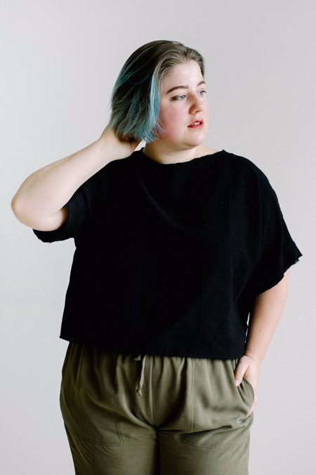 Hackwith Design House PLUS SIZE Raw Finish Tee -Black Gauze
