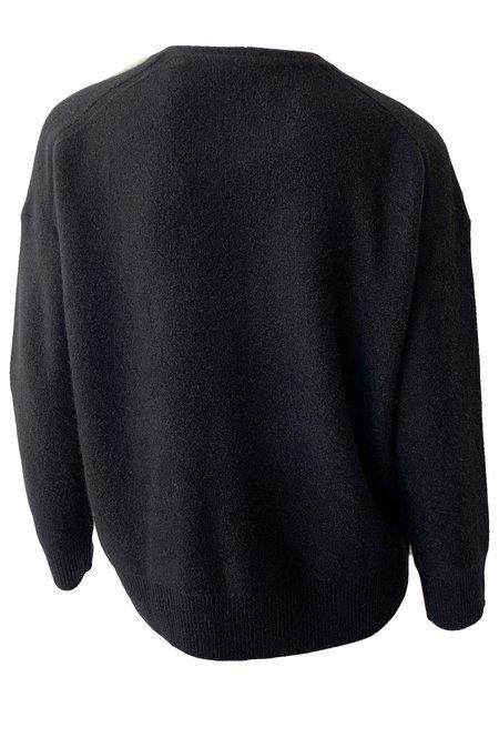 VINCE Relaxed V-Neck Pullover - Black