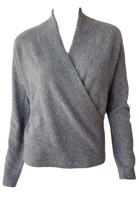 VINCE Wrap Front Pullover - Heather Grey