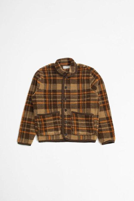 Universal Works Lancaster Check Sherpa Fleece Jacket - Brown