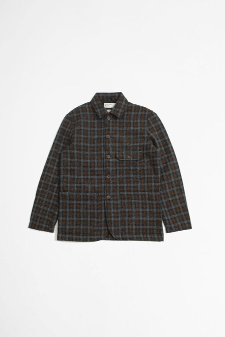 Universal Works Harris Tweed Norfolk Bakers Jacket - Brown/Grey Check