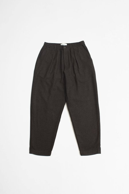 Universal Works Pleated Track Pant - Dogtooth Brown