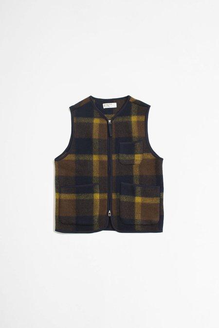 Universal Works Zip gilet large plaid fleece vest - navy/yellow