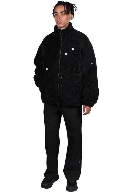 C2H4 Arc Panelled Asteroid Padded Fleece Coat - black