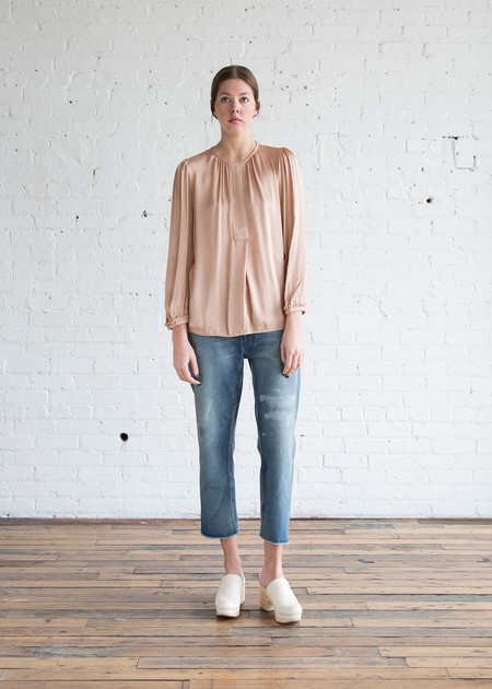 Raquel Allegra Ribbon Placket Blouse Copper