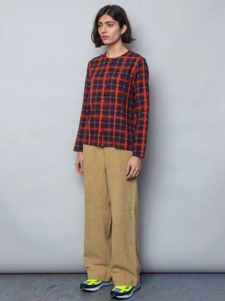 Folk Collarless Shirt - Brick Red Windowpane