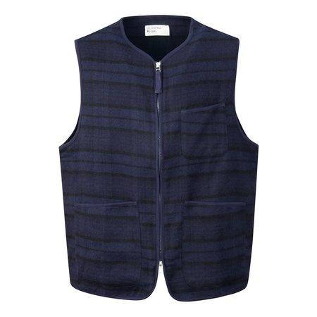 Universal Works Zip Wool Twill Gilet - Navy