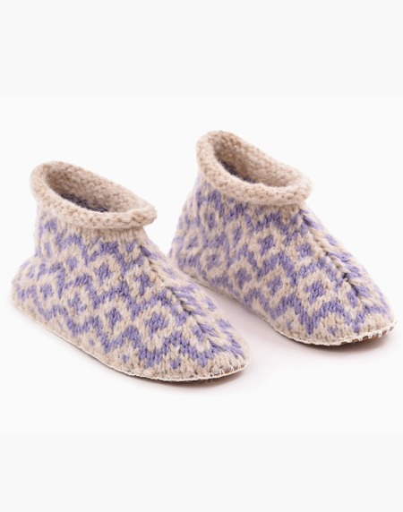 Ariana Bohling Fair Isle Knit Alpaca Slipper - Lilac/Beige
