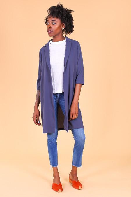 Evam Eva Double Cloth Robe in Blue Gray