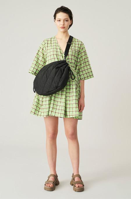 Ganni Wrap Mini Dress - Green Plaid