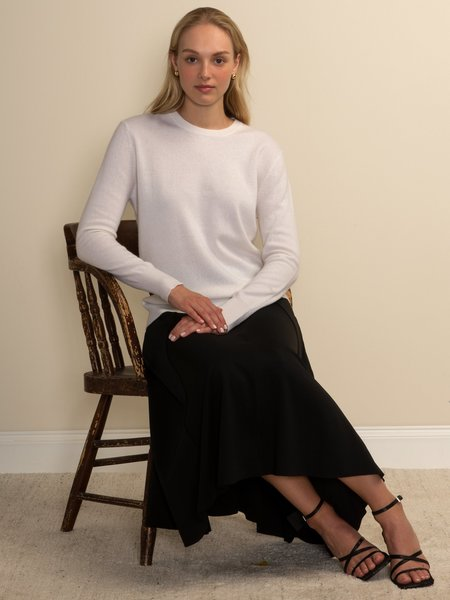 PURECASHMERE NYC Classic Crew Neck Sweater - Vintage White
