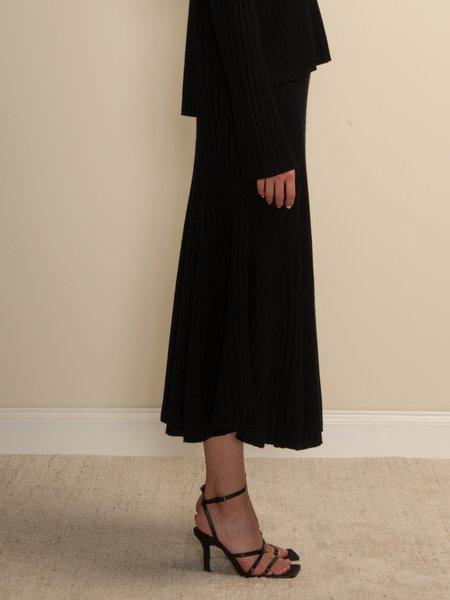 PURECASHMERE NYC Flared Rib Skirt - Black