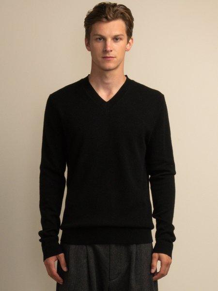 PURECASHMERE NYC Men V Neck Sweater - Black