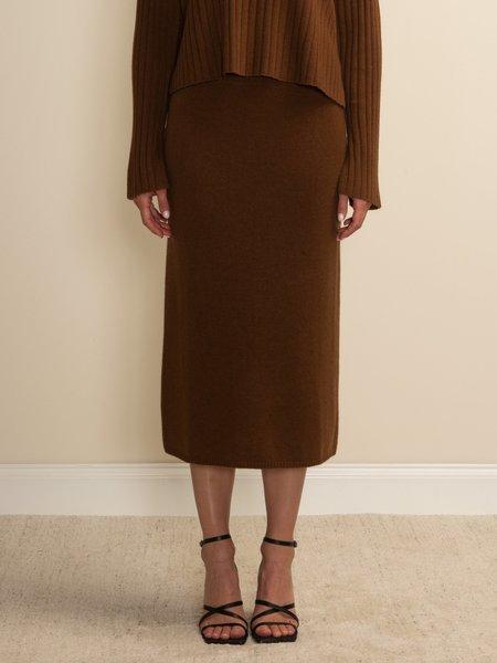 PURECASHMERE NYC Midi Skirt - Deep Camel