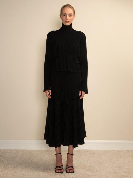 PURECASHMERE NYC Turtleneck Rib Sweater - Black