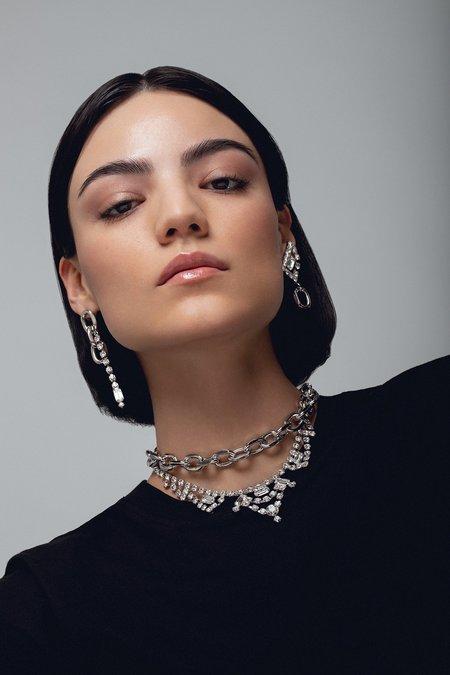 Joomi Lim Asymmetrical Chain Link & Crystal Earrings