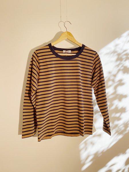 ICHI ANTIQUITES Organic Cotton Border Pullover - Brown/Navy