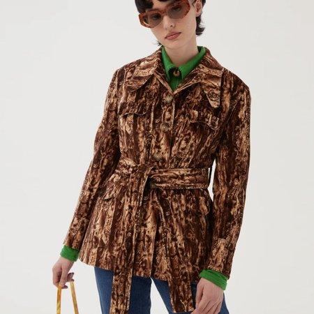 Rejina Pyo Felix Cotton Jacket - Moleskin Print Brown