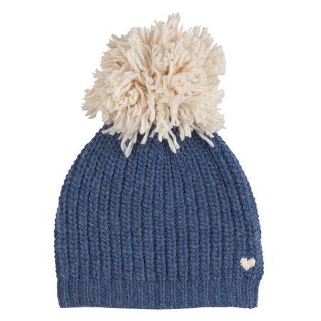 Kids Bonton Child Knit Hat With Pompom - Blue