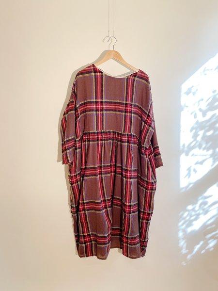 ICHI ANTIQUITES Wool Gauze Tartan Dress