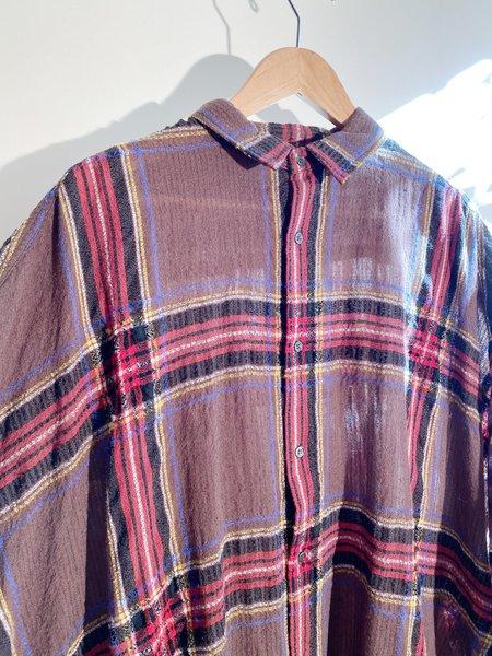 ICHI ANTIQUITES Wool Gauze Tartan Shirt Dress