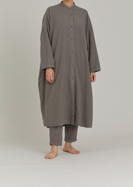 Black Crane Long Shirt Dress Coat - Mud