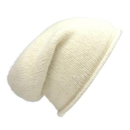 unisex Megan Huntz Snow Essential Knit Alpaca Beanie - white