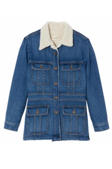 Nili Lotan Scarlett Sherpa Denim Jacket - blue