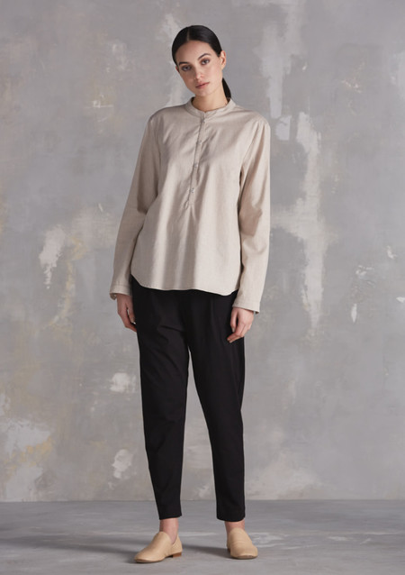 KOWTOW Fable Collarless Shirt in Oatmeal