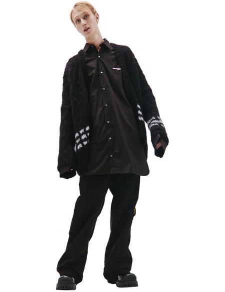 Raf Simons Black white stripes cardigan - Black