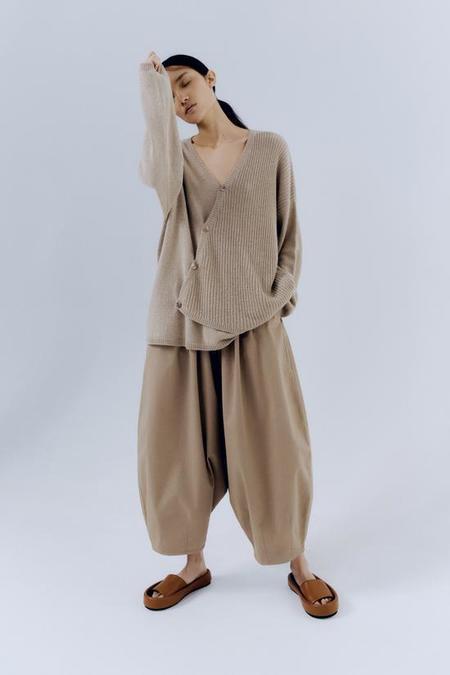 Monica Cordera Baby Alpaca Asymmetric Sweater - Pale Olive
