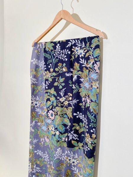 Épice Paris Fleur 2- Large Wool Stole SCARF - BLUE