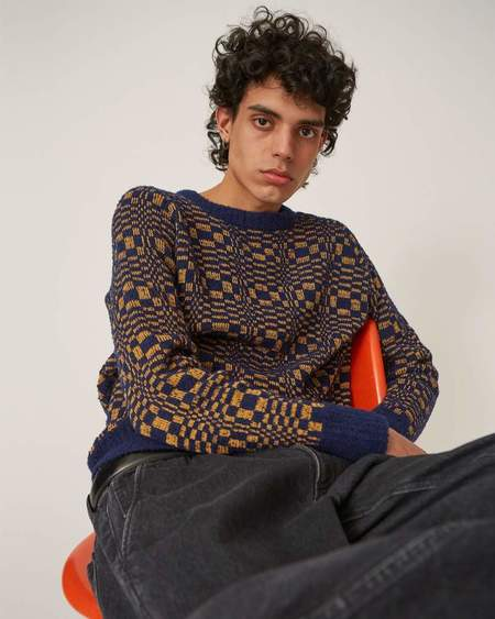 Corridor Optic Boucle Crewneck Sweater - Blue