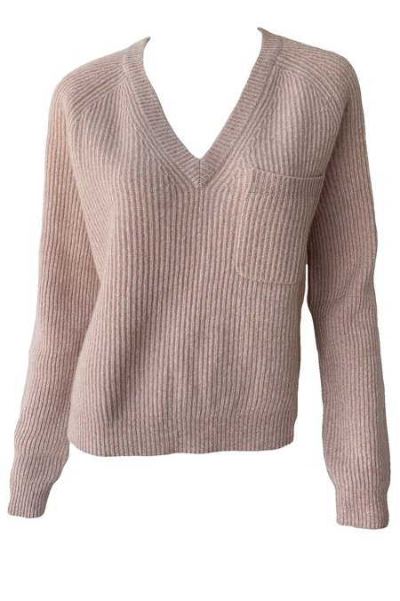 Naadam Cashmere Fisherman V Neck Sweater - Rose