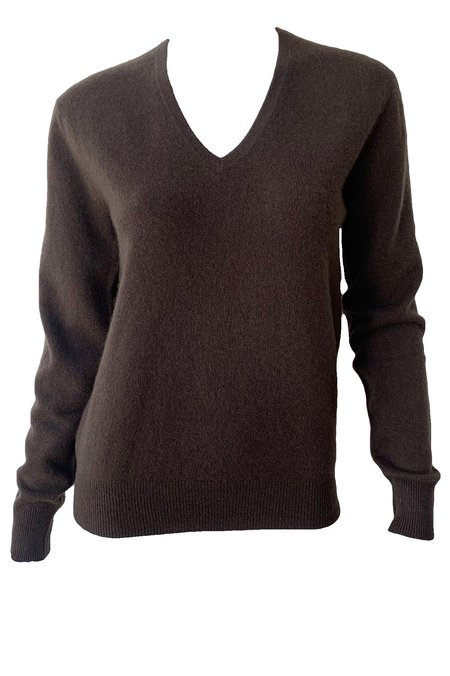 Naadam Cashmere V Neck Pullover - Chocolate Brown