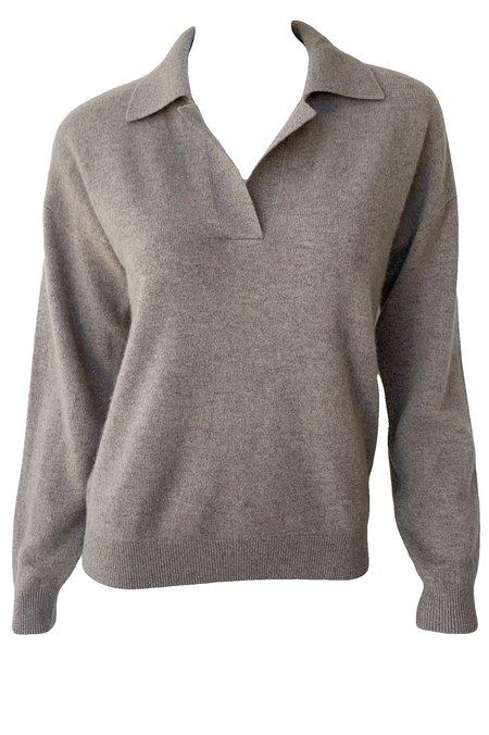 Naadam Long Sleeve V Neck Polo Sweater - Timber