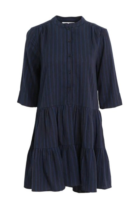 Apiece Apart Maurino Drop Waist Mini Dress - Winter Stripes