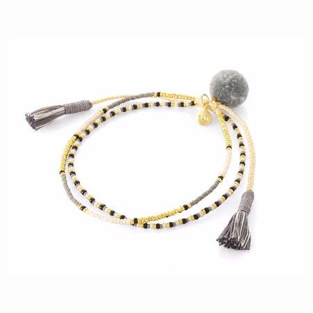 TAI Neutral Pom Pom DBL Strand Bracelet - Gray