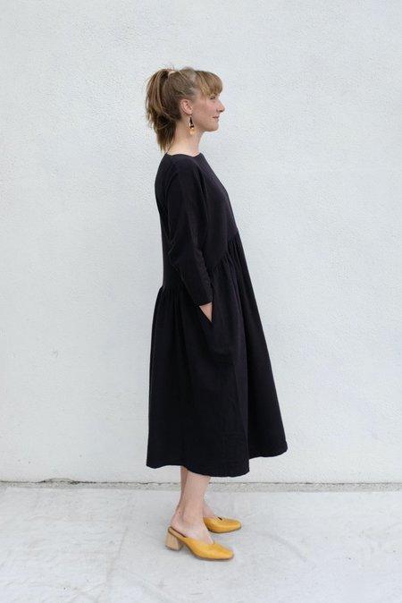 Black Crane Tradi Cotton Flannel Dress - Black