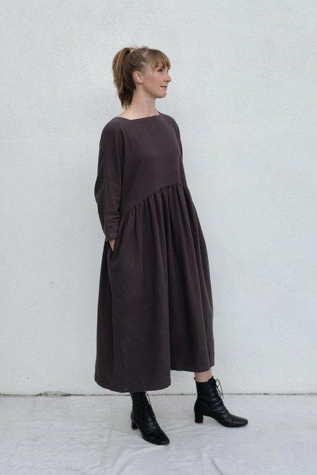 Black Crane Cotton Flannel Dress - Dark Grey