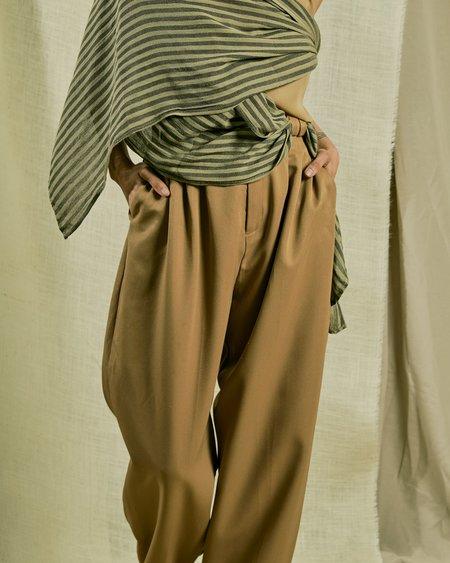 Vintage Classic Pleat Pant - Golden Brown