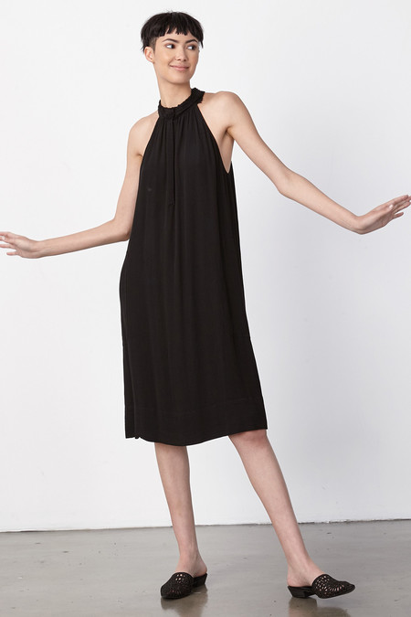 Raquel Allegra BLACK CREPE HALTER DRESS