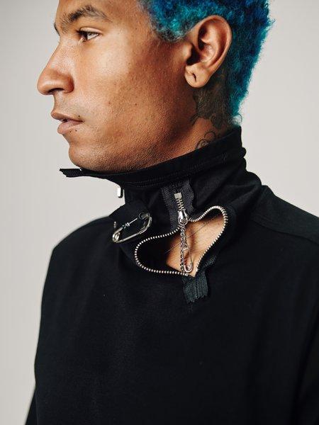 TAKAHIROMIYASHITA The Soloist. Cotton Dual Zip Turtleneck Long Sleeve Tee - Black
