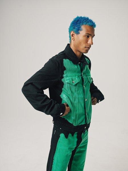 Marni  Bleached Front  Denim Jacket - Black/Mint Green